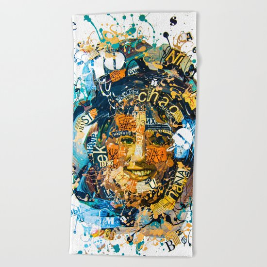 the woman's face #1 Beach Towel