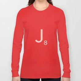 Pink Scrabble Letter J - Scrabble Tile Art and Accessories Long Sleeve T-shirt