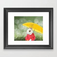 It's raining, little bunny! Framed Art Print