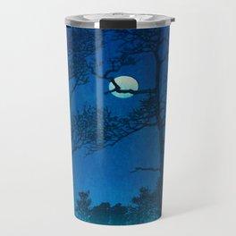 Vintage Japanese Woodblock Print Three Tall Trees At Night Forest Field Landscape Travel Mug