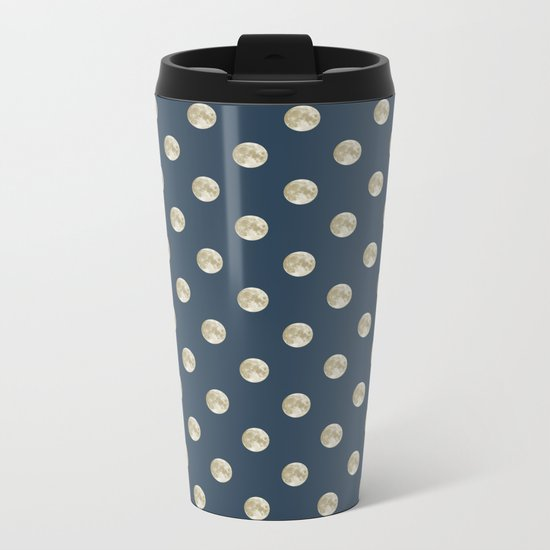 Full Moon Polka Dot Metal Travel Mug