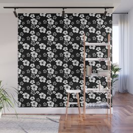Black And White Floral And Turtle Hawaiian Pattern Wall Mural
