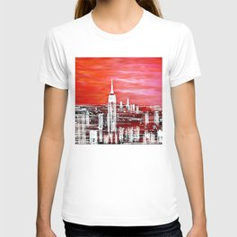 Abstract Red In The City Design T-shirt