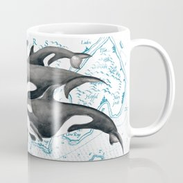 Orca Whales Family Blue Vintage Map Coffee Mug