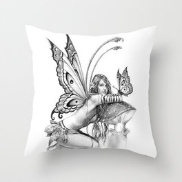 toadstool fairy Throw Pillow