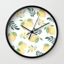 Zesty Lemons Pattern Wall Clock