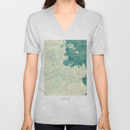 Doha Map Blue Vintage Unisex V-Neck