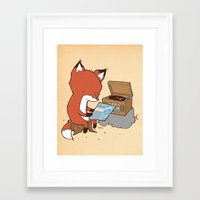 record Framed Art Prints featuring Record Player by hatrobot
