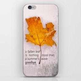 Autumn. Fallen leaf on dirty ice. iPhone Skin