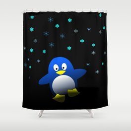 Dancing Penguin in the Dark Shower Curtain