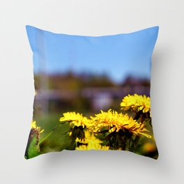 Concept flora . Dandelions in a field Throw Pillow
