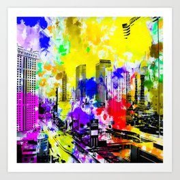 building of the hotel and casino at Las Vegas, USA with blue yellow red green purple painting abstra Art Print