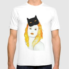 Be a cat MEDIUM White Mens Fitted Tee