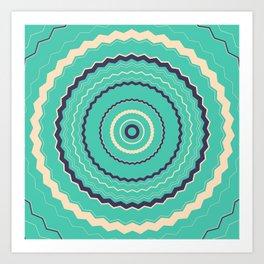 Abstract Kaleidoscope Pattern Green Art Print