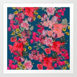 Watercolor Vintage Floral Print on Cerulean Art Print