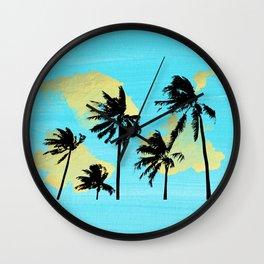 Palm Trees in Moorea Wall Clock