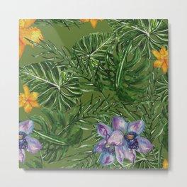 Tropical Pattern Big Leaves Metal Print
