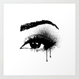 Black and White Eye makeup with paint drips Art Print