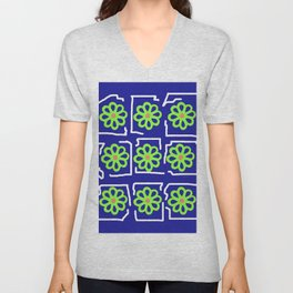 Abstract Green Blossoms on Blue Unisex V-Neck