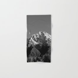 Moon Over Pioneer Peak B&W Hand & Bath Towel