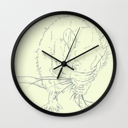 Little Rat Cleaning Face Wall Clock