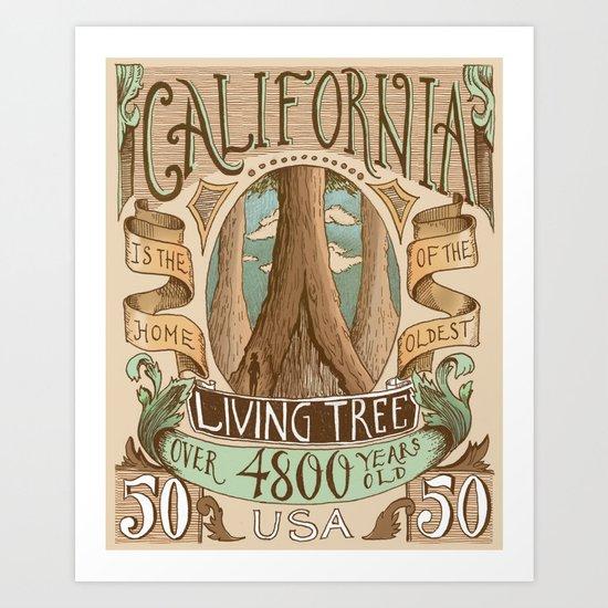 California Vintage Postage Stamp Art Print