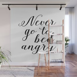 Never go to bed angry, Scandinavian Art, Minimalist, Typography Print, Gifts for Newlyweds, Bedroom Wall Mural