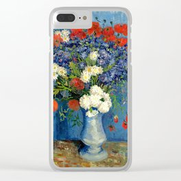 Vase With Cornflowers And Poppies Clear iPhone Case