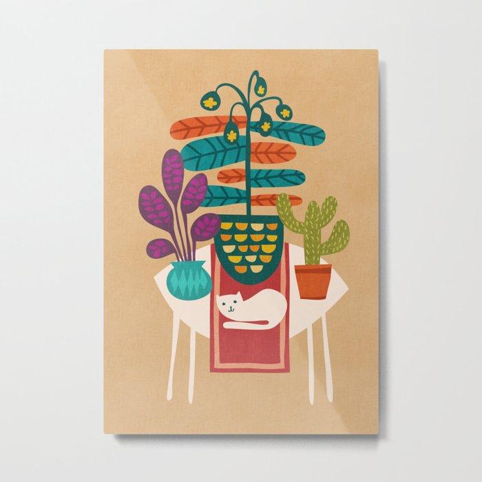 Indoor garden with cat Metal Print