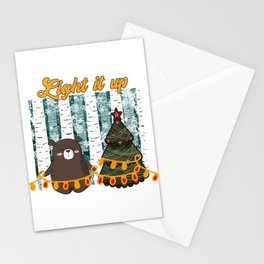 Light it up tiny bear Christmas in the forest Stationery Cards
