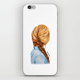 Blonde Fishtail Braid Girl Drawing  iPhone Skin