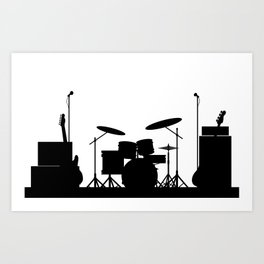Rock Band Equipment Silhouette Art Print