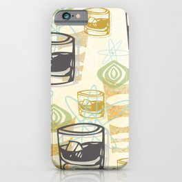 Dad Is Home Retro Midcentury Whiskey Pattern iPhone Case