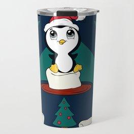 Hot Cocoa Holiday Penguin Quatrefoil Travel Mug
