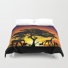 Wild Animals on African Savanna Sunset Duvet Cover