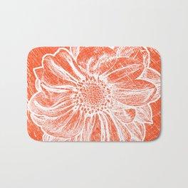 White Flower On Pumpkin Orange Crayon Bath Mat