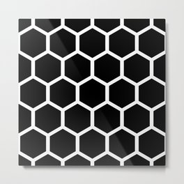 Honeycomb pattern - Black and White Metal Print