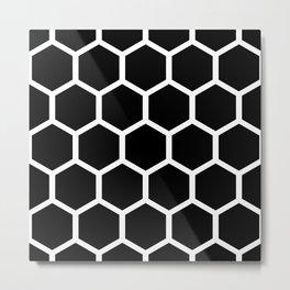 Honeycomb pattern - Black and White Metal Print