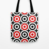 chicago bulls Tote Bags featuring Bulls EYE by Sacred Symmetry
