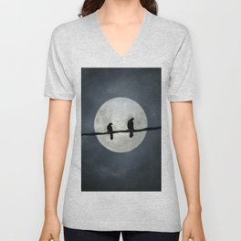 Two Crows In The Light Of A Silvery Moon Unisex V-Neck