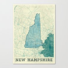 New Hampshire State Map Blue Vintage Canvas Print
