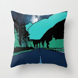 Highway at Night Throw Pillow