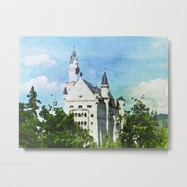Neuschwanstein castle in watercolor Metal Print