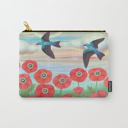 tree swallows and poppies Carry-All Pouch