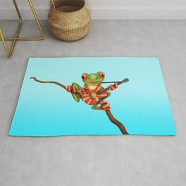 Tree Frog Playing Acoustic Guitar with Flag of Macedonia Rug
