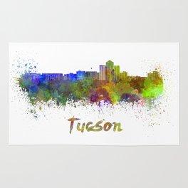 Tucson skyline in watercolor Rug