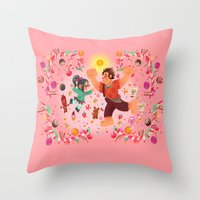 wreck it ralph Throw Pillows featuring Sweet wall painting by princessbeautycase