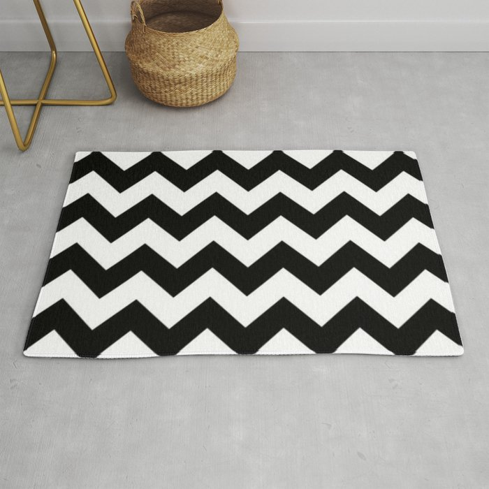 Black And White Chevron Pattern Thick Lined Zig Zag Rug By Cradoxcreative
