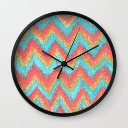 Chevron Ikat Acrylic Teal Coral Painting Wall Clock