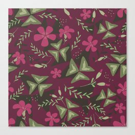 Shamrock Floral Layered Pattern / Purple Canvas Print